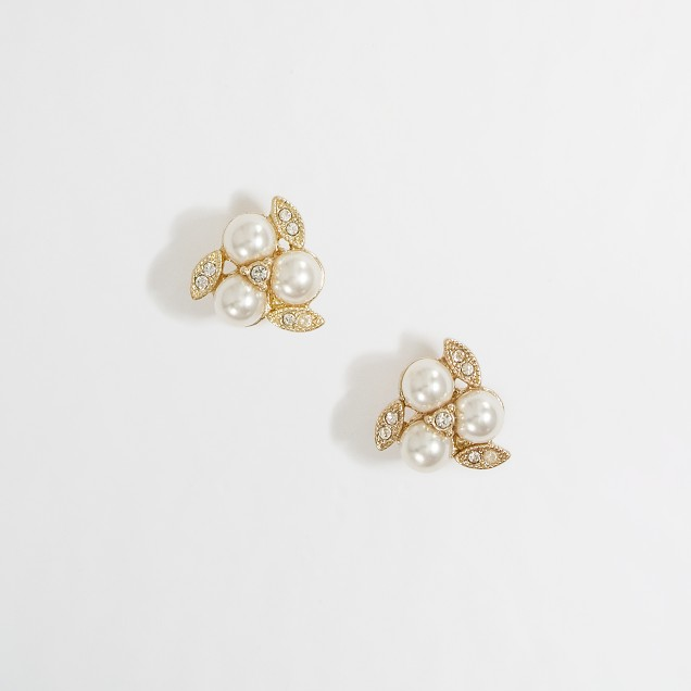 Factory pearl and crystal cluster stud earrings