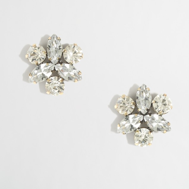 Factory crystal petal stud earrings