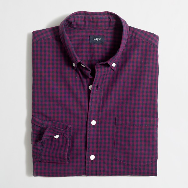 Tall washed shirt in two-tone gingham