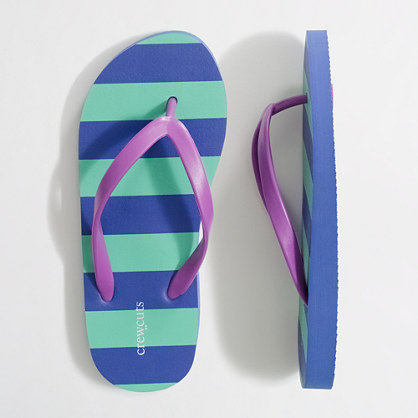 Factory girls' stripe flip-flops
