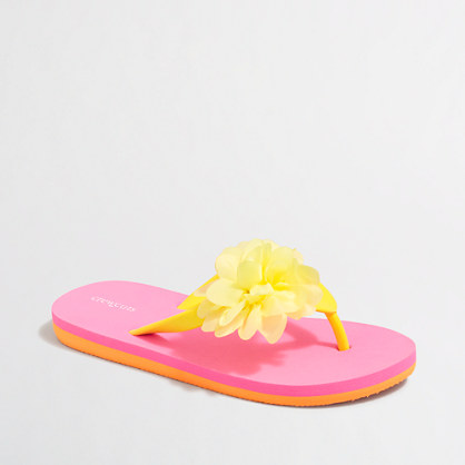Girls' two-tone flower flip-flops