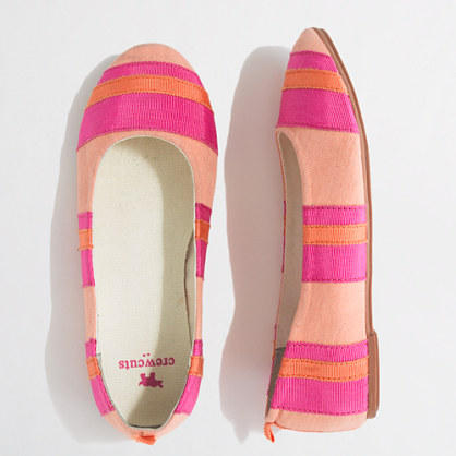 Factory girls' ribbon-stripe ballet flats