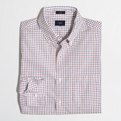 Slim washed shirt in oversized tattersall