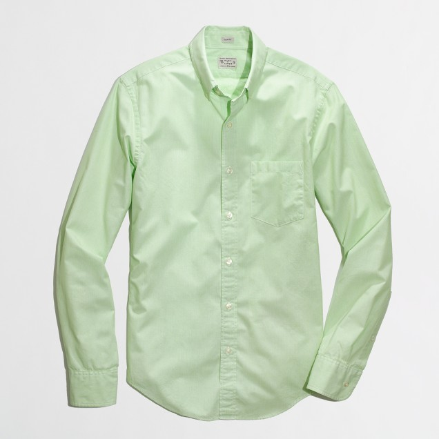 Slim washed shirt in microstripe
