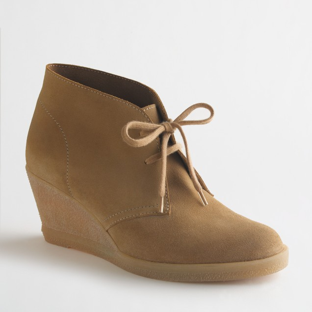 Factory suede lace-up wedge boots