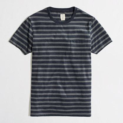 Factory slim heathered washed pocket tee in medium stripe