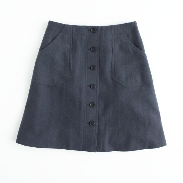 Factory herringbone button-front skirt