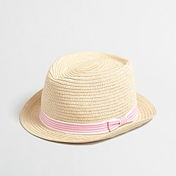 Factory girls' ribbon straw fedora