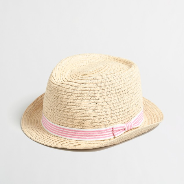 Girls' ribbon straw fedora
