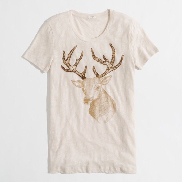Factory beaded reindeer graphic tee