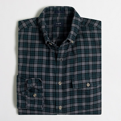 Factory slim brushed twill shirt brushed twill j crew for Brushed cotton twill shirt