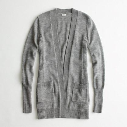 Factory wool-blend long open cardigan