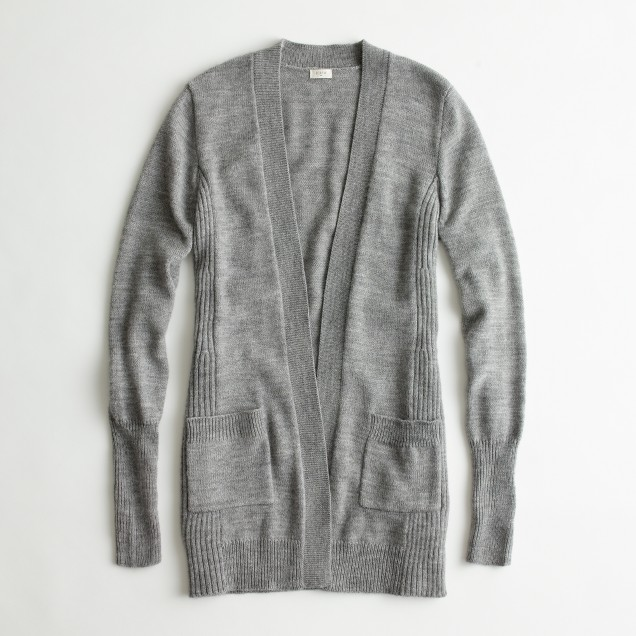 Factory wool-blend long open cardigan