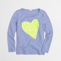 Factory girls' long-sleeve sequin heart keepsake tee