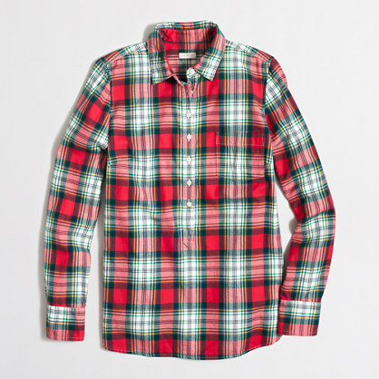 Factory plaid popover shirt in flannel