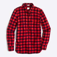 Petite plaid popover shirt in flannel in perfect fit