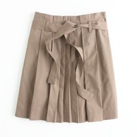 Factory pleated poplin skirt