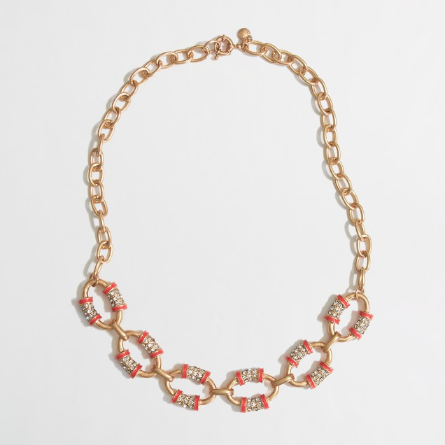 Factory crystal and gold link necklace
