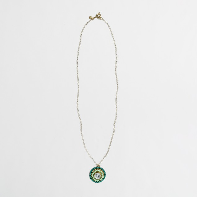 Factory crystal and bead medallion necklace