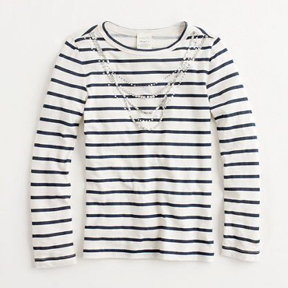 Factory girls' long-sleeve stripe necklace tee