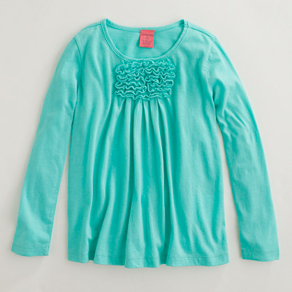 Factory girls' long-sleeve ruffle neck tee