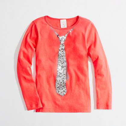 Factory girls' long-sleeve sequin tie keepsake tee