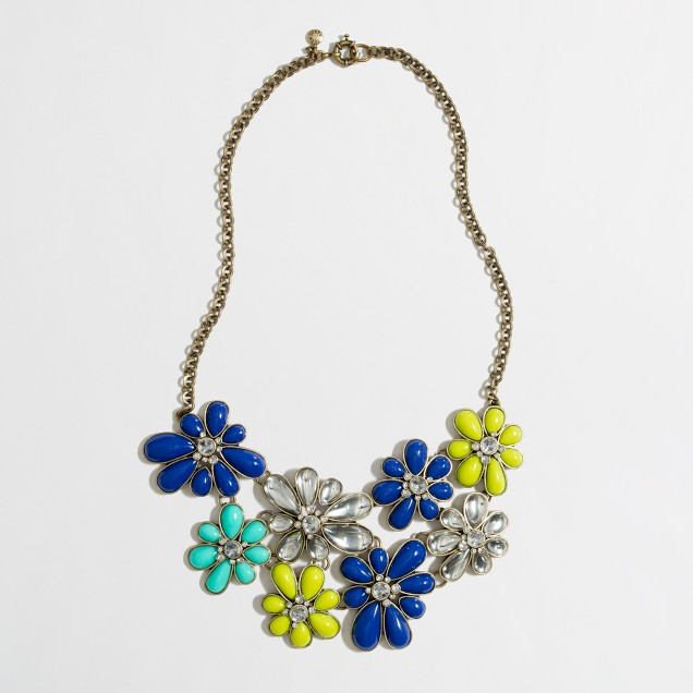 Factory stone and crystal flower bib necklace
