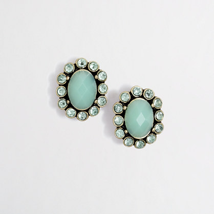 Factory dotted stone stud earrings