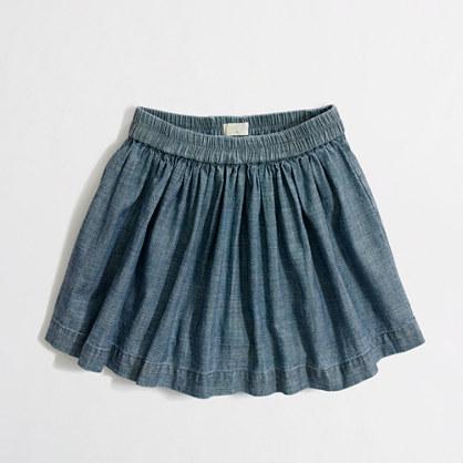 Factory girls' chambray skort