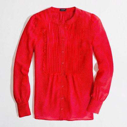 Factory printed ruffle pintuck blouse