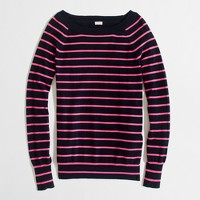 Factory thin-stripe cotton boatneck sweater