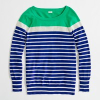 Factory colorblock cotton boatneck sweater