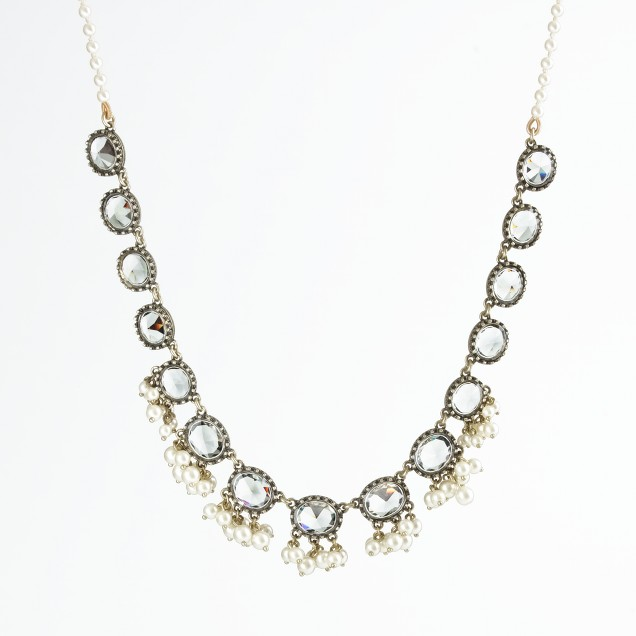 Factory large crystal pearl cluster necklace