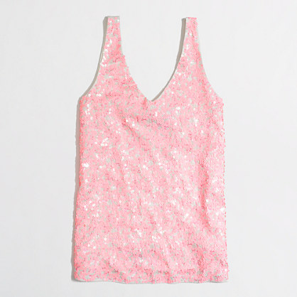 Factory multicolor sequin v-neck tank