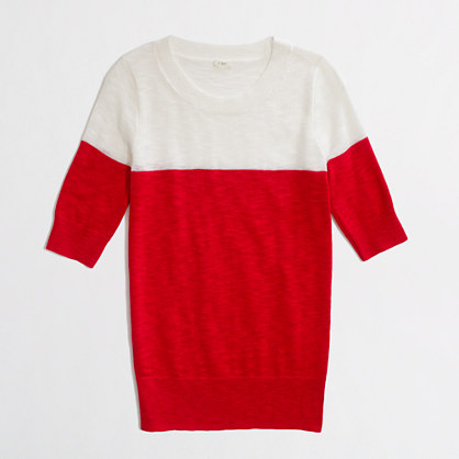 Factory colorblock elbow-sleeve sweater