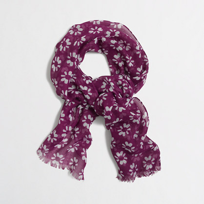 Girls' lightweight printed scarf