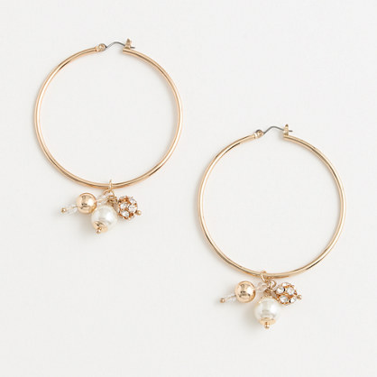 Factory large hoop earrings with pearl cluster