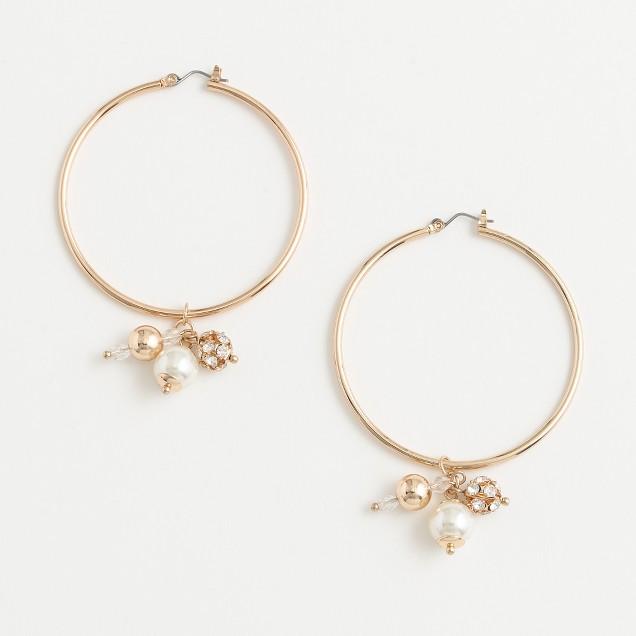 Factory large hoop earrings with pearl cluster