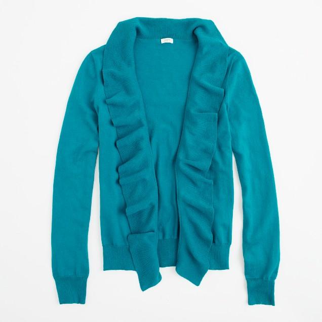 Factory cotton ruffle cardigan