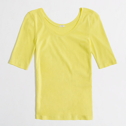 Factory scoopneck button-sleeve tee