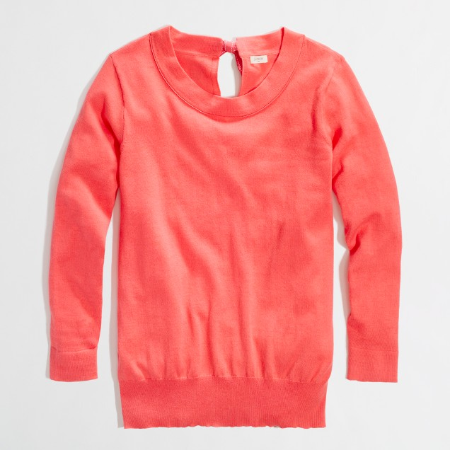 Factory cotton keyhole sweater