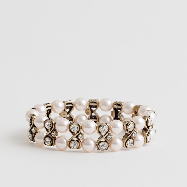 Factory pearl and crystal elastic bracelet