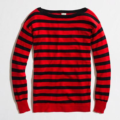 Factory stripe boatneck sweater