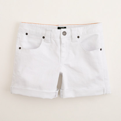 Denim roll-up short in white