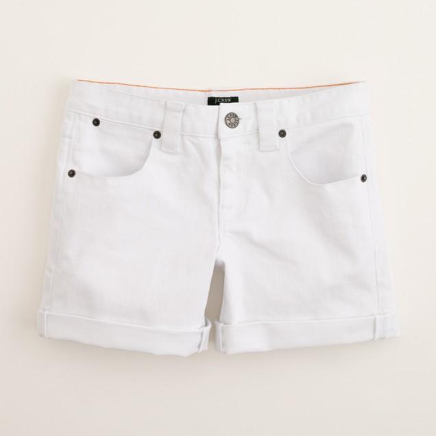 Denim roll-up short in white