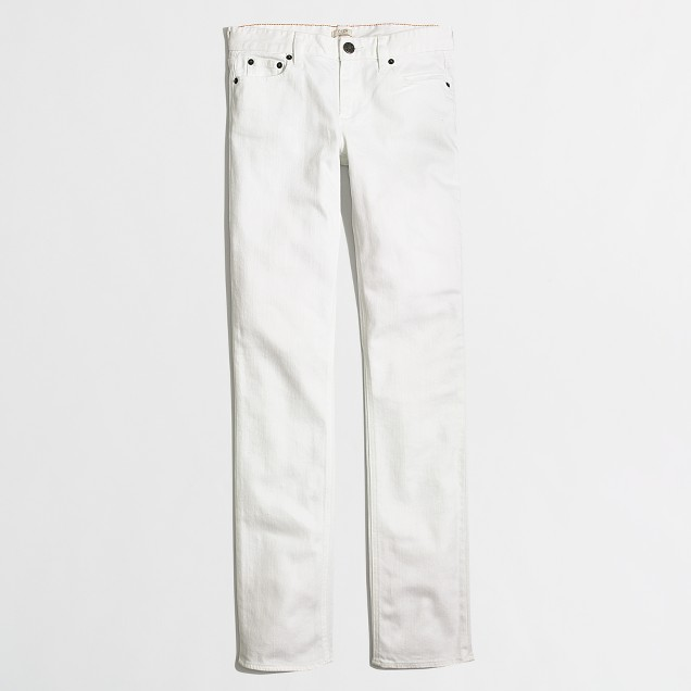 White straight and narrow jean