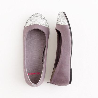 Factory girls' glitter cap toe ballet flats