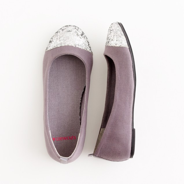 Factory girls' glitter cap toe ballet flats