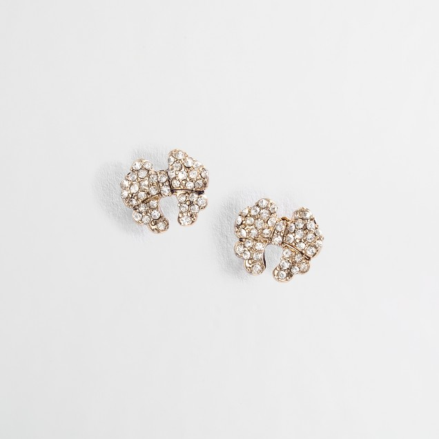 Factory crystal bow stud earrings