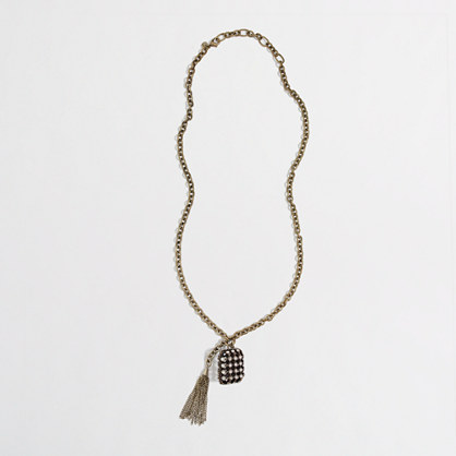 Factory crystal pendant and tassel necklace